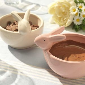 Bunny Ceramic Bowl With Chocolate And Marshmallows