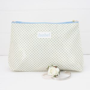 Personalised Spot Oilcloth Wash Bag
