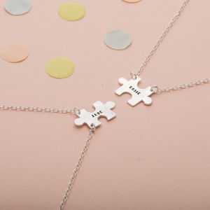 Personalised Jigsaw Friendship Necklace Set - for friends