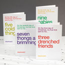 Funny '12 Days Of Christmas' Four Pack Christmas Cards