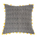 Hand Woven Black And Mustard Oversized Ziggy Cushion