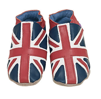 Boys and girls soft leather baby shoes, union jack flag design on navy shoes