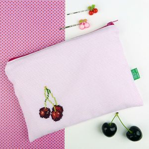 Cherry Cross Stitched Storage Zip Bag