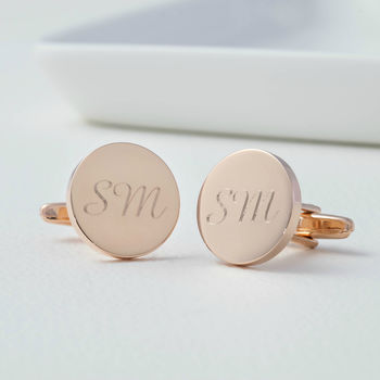 Personalised Rose Gold Round Cufflinks