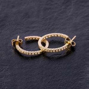 'Lucia' 14k Gold Diamond Hoop Earrings - earrings
