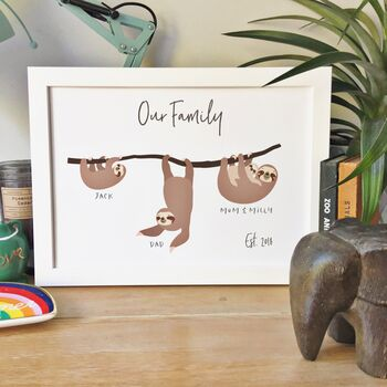 Sloth Family Personalised Print Eco Friendly