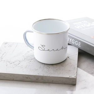 Personalised Hand Lettered Enamel Mug - our favourites at 50% off