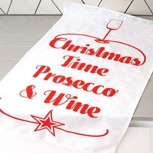 'Prosecco And Wine' Christmas Tea Towel