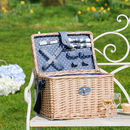 Personalised Bazille Polka Dot Wicker Picnic Hamper