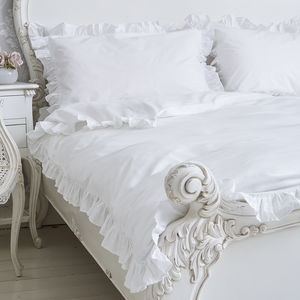 Ruffle White Cotton Duvet Cover With Frill Edge - bed linen