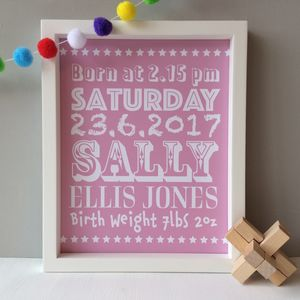 Personalised New Baby Print - pictures & prints for children