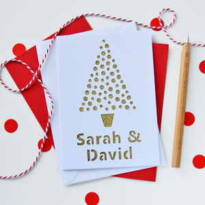 Personalised Spots Christmas Tree Cut Out Card - cards