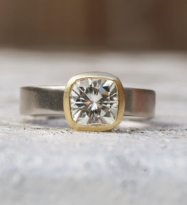 Large Cushion Cut Moissanite Ring