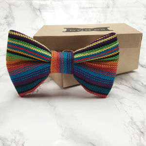 Renboga Rainbow Stripe Dog Bow Tie - dogs