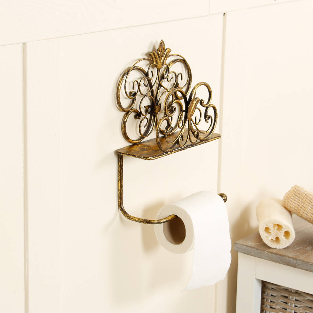 Antique Gold Wall Mounted Toilet Roll Holder By Dibor