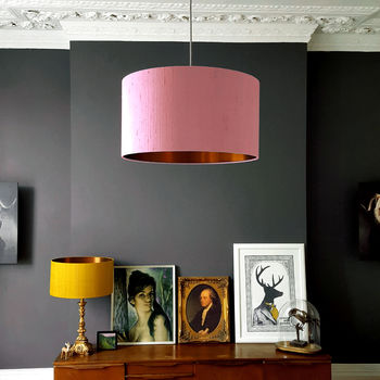 Blush Pink Silk Lampshades With Copper Lining