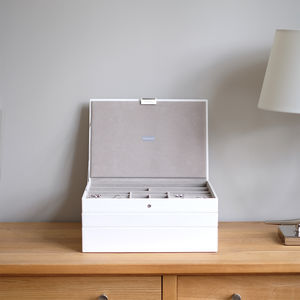 White Supersize Velvet Lined Jewellery Box - jewellery storage & trinket boxes