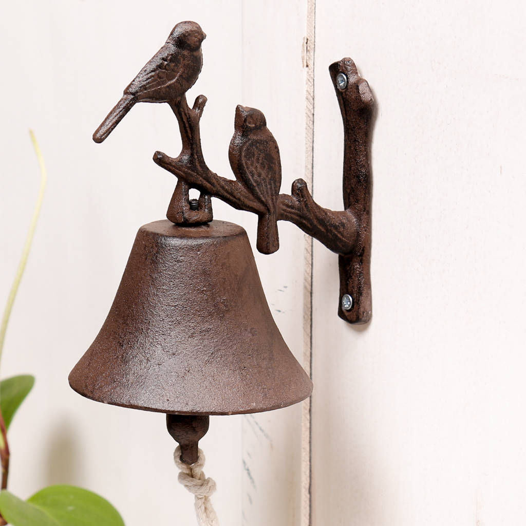 Cast Iron Antique Brown Perching Birds Door Bell