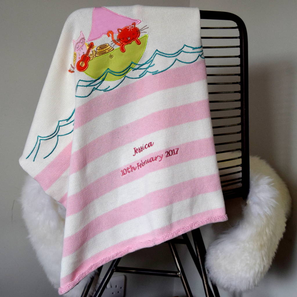 Personalised Owl And The Pussycat Knitted Baby Blanket