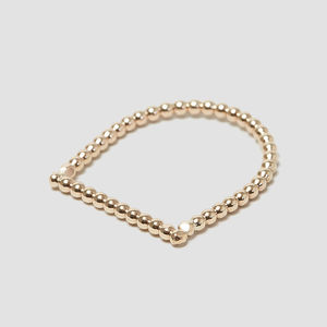 Dainty Gold Beaded Stacking Ring - wedding rings