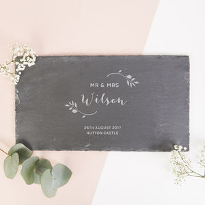 Personalised Wedding Gift Botanical Slate Serving Board