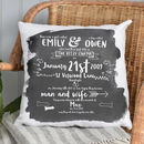 Personalised Wedding Anniversary History of Us Special Memories Cushion