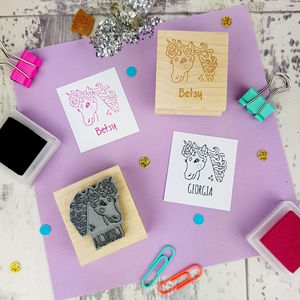 Unicorn Personalised Rubber Stamp - diy & craft