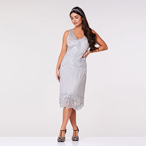 Elsa Midi Length Art Deco Flapper Dress In Silver - flapper dresses