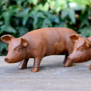 Little Rusty Baby Pig Ornament - sculptures & ornaments