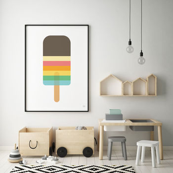 Rainbow Striped Lolly Print