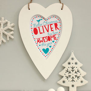 Personalised 'Dear Father Christmas' Hanging Decoration