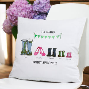 Personalised 'Mud And Glamour' Family Cushion