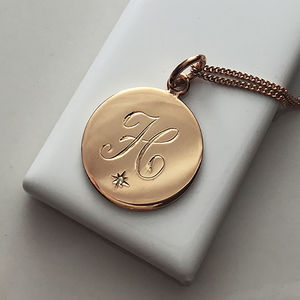 Diamond Initial Necklace In Yellow Or Rose Gold