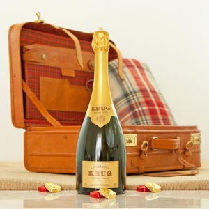Krug Champagne Leather Suitcase Luxury Travel Gift