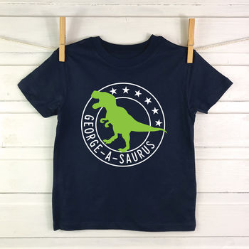 boys dinosaur t shirt blue
