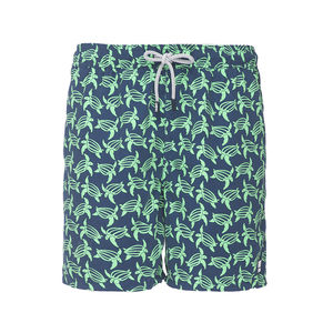 Men's Navy And Green Turtles Swimming Shorts
