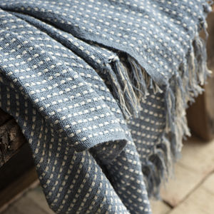 Dusty Blue And Cream Cotton Throw Blanket