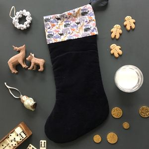 Velvet And Liberty Print Christmas Stocking Zoo - stockings & sacks