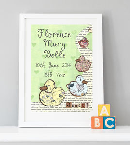 Personalised Birth Date Duckies Print - children's pictures & paintings