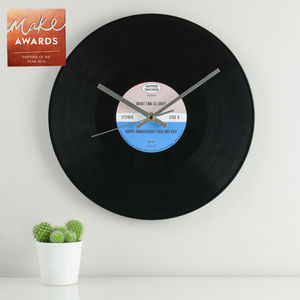 Personalised Vinyl Record Wall Clock - wedding gifts & cards sale