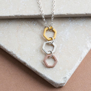 Gold Silver And Rose Gold Contemporary Drop Necklace