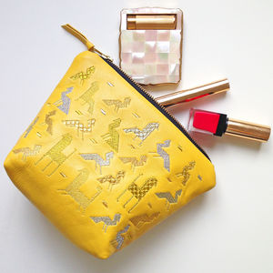 Animal Embroidered Lambs Leather Zipped Make Up Bag