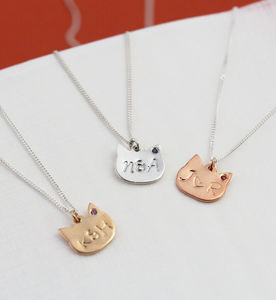 Personalised Silver Cat Necklace With Birthstones