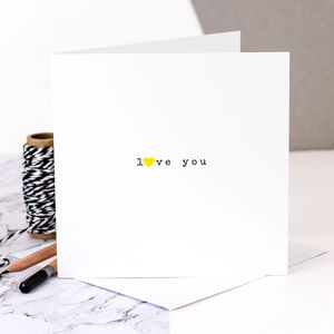 Love Card; 'Love You' With Yellow Heart - love & romance cards
