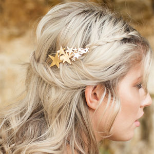 Star Hair Barrette Gold Or Silver - body jewellery