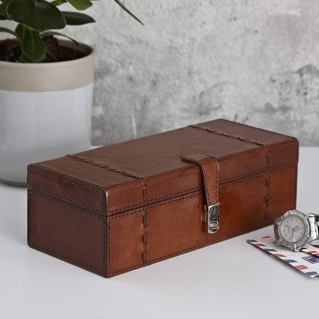 Personalised leather watch box for three five or one by life of riley for Watches box