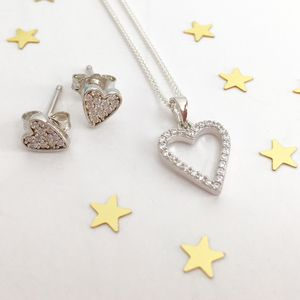 Sterling Silver Heart Necklace Set - jewellery sets