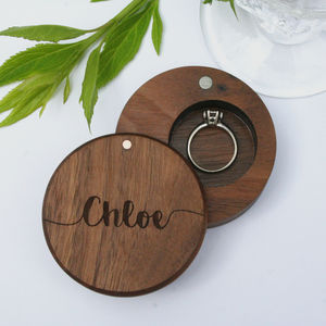 Personalised Walnut Round Engraved Ring Box - on trend: botanical