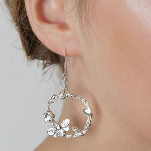 Silver Statement Bee, Flower And Heart Drop Earrings - earrings