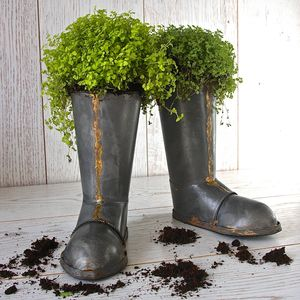 Pair Of Wellington Boot Planters - gardener